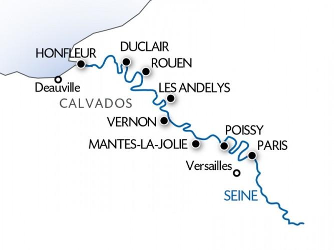 ルノワール号|7月19日パリ出発セーヌ川クルーズ5日間 日程Map