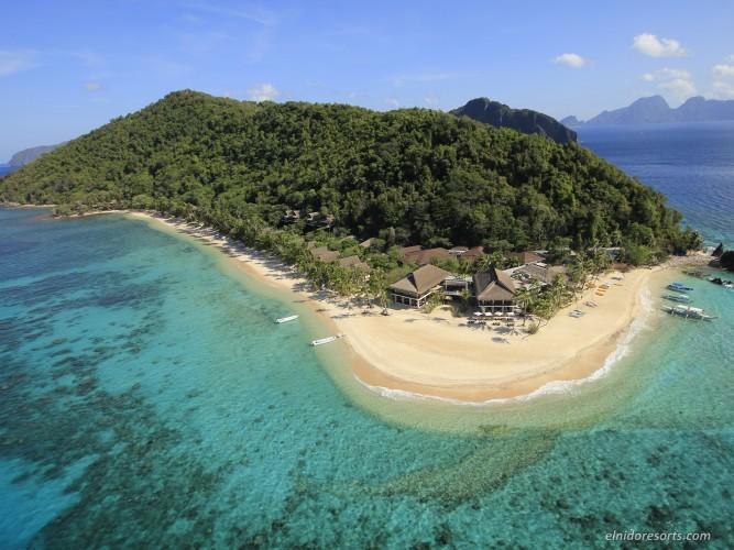 フィリピン最後の秘境の水上コテージ【エルニド】パングラシアンアイランドのハネムーン・新婚旅行・無料アクティビティ・予算・費用・お見積もりは名古屋のエルニド専門店グラージュへ Pangulasian Island - Aerial View
