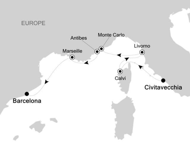 V5714 2017年5月31日発 チヴィタベッキア~バルセロナ 日本人コーディネーター乗船決定!名古屋クルーズ・船旅船オン旅行会社グラージュ