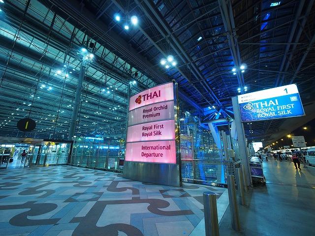 タイ航空,バンコク,ファーストクラス,ビジネスクラス,入口,エントランス