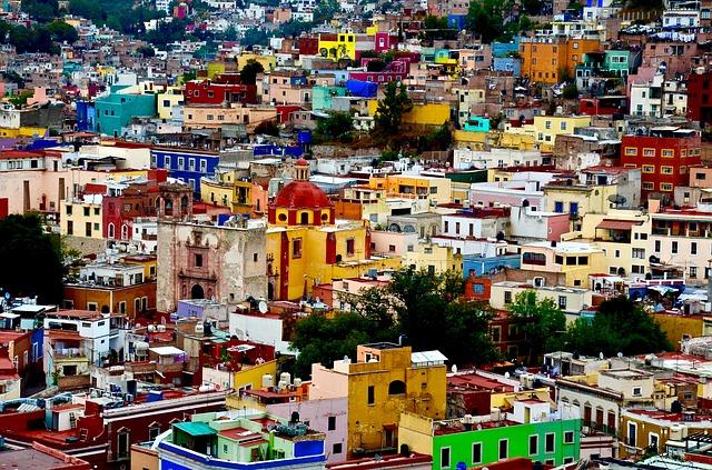 メキシコ, 色, 旅行, カラフルです, 観光,  伝統的な 文化,グアナファト市, アーキテクチャ