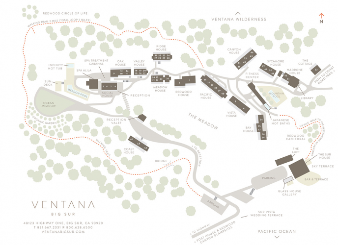 ventana inn & spa map