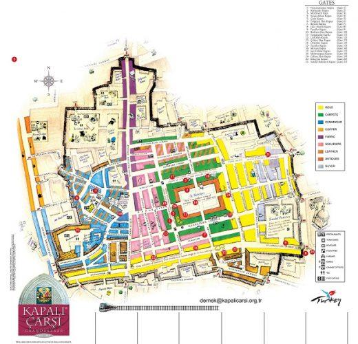 中東の美しい市場5選 グランドバザール見取り図 ,地図